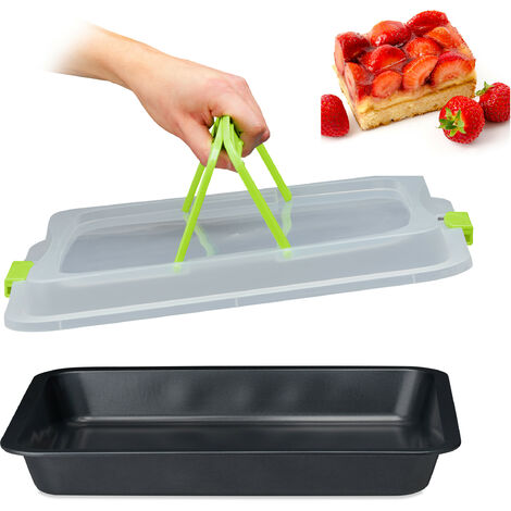 Relaxdays Baking Tray with Lid, Cake Carrier, Kitchen Storage Container with Handles, 3in1, WxD: 40x33, Green & Black