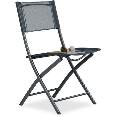 Relaxdays Balcony Chairs, Metal, Synthetics, Garden Chair, HxWxD: 87 x 55 x 48.5 cm, Foldable Patio Chair, Grey