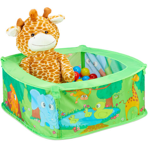 Relaxdays Ball Pit Baby, Zoo Play Pen With 50 Balls, Square, Pop-up, HWD 29 x 80 x 80 cm, Ball Pool, Green