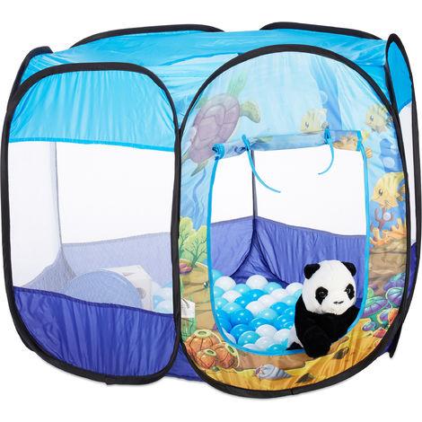 Relaxdays Ball Pit Ocean, 100 Balls, Hexagonal, Pop-up Ball Pool, HWD 77 x 98 x 83 cm, Children Play Tent, Blue