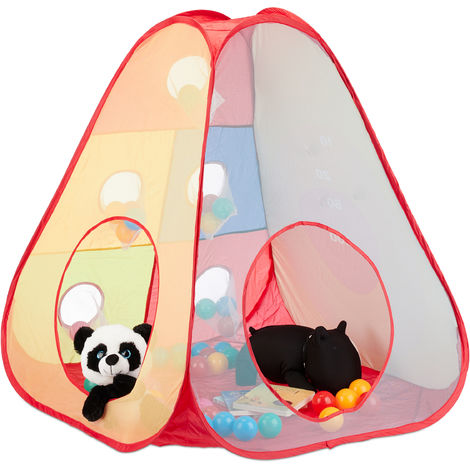 Relaxdays Ball Pit Tent, 50 Balls, Play Tent for Ages 3 and Up, Pop Up Ball Pool, In- and Outdoor, H x W 104 x 95 cm, Colourful