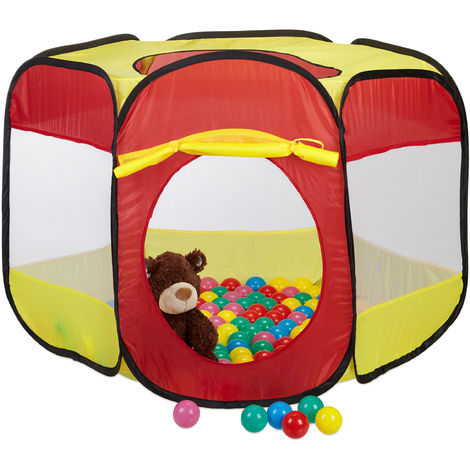 Relaxdays Ball Pit with 100 Balls for Kids, Pop Up Play Tent for Age 3 and Up, HWD: 70x85x100 cm, Hexagonal, Red-Yellow