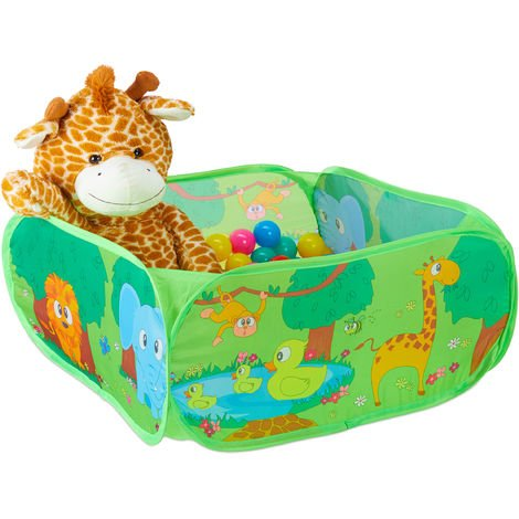 Relaxdays Ball Pool Baby, 50 Colourful Balls, Square Zoo Play Pen, Pop Up, HWD: 34 x 71 x 71 cm, Ball Pit, Green