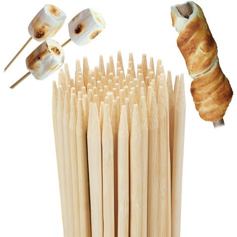Relaxdays Bamboo Barbecue Skewers, Set of 100, For Bonfires and Marshmallows, Universal, 90 cm Long, Natural