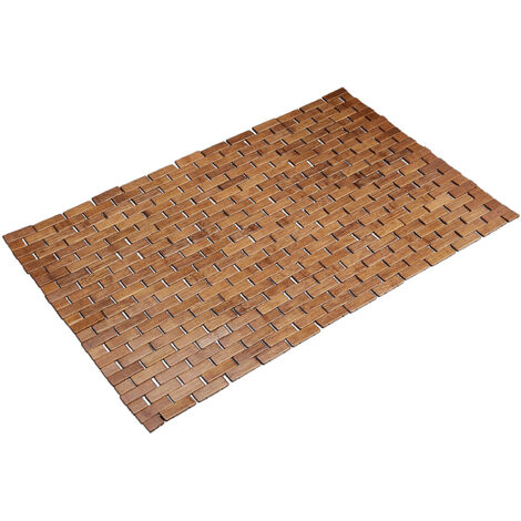 Relaxdays Bamboo Bath Mat 50x80 cm, Bathtub Rug, Hygienic, Foldable, Floor Mat for Indoors, Brown