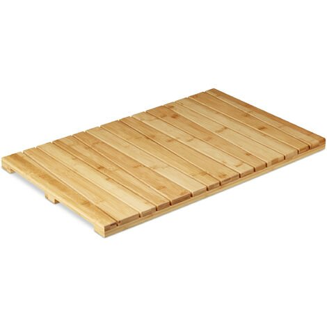 Relaxdays Bamboo Bath Mat, for the Bathroom, Stopper, Hygienic, Moisture-Resistant, 40x65 cm, Natural