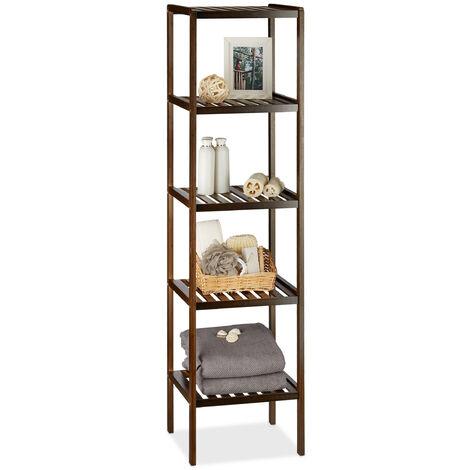 Relaxdays Bamboo Bath Rack, 5 Shelves, HxWxD: 139.5 x 34.5 x 33 cm, Tall Freestanding Shelving Unit, Wooden Shelves, Dark Brown
