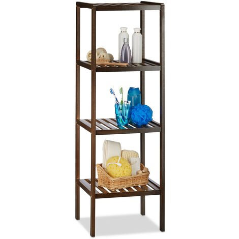 Relaxdays Bamboo Bath Rack with 4 Shelves, HxWxD: 110 x 34.5 x 33 cm, Tall Freestanding Shelving Unit, Wooden Shelves, Dark Brown