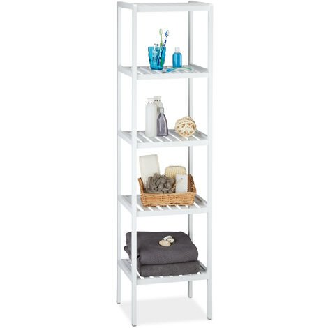 Relaxdays Bamboo Bath Rack with 5 Shelves, HxWxD: 139.5 x 34.5 x 33 cm, Tall Freestanding Shelving Unit, Kitchen Shelves, White