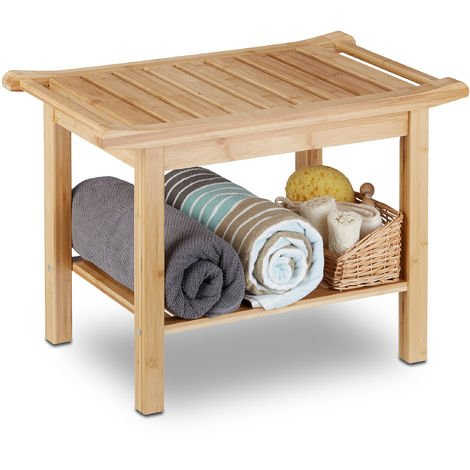 Relaxdays Bamboo Bathroom Bench, Hallway Seat, Wooden Storage Bench, HxWxD: 45 x 66 x 40 cm, Bathroom Furniture, Natural Brown