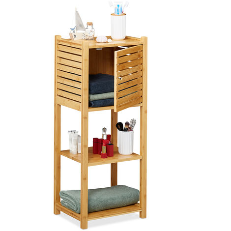 Relaxdays Bamboo Bathroom Cabinet, 3 Shelves,1 Cupboard with Door, Kitchen Storage Unit, HWD: 87.5 x 35 x 29 cm, Natural