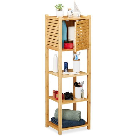 Relaxdays Bamboo Bathroom Cabinet, 4 Shelves, 1 Cupboard with Door, Kitchen Storage Unit, HWD: 113 x 35 x 29 cm, Natural
