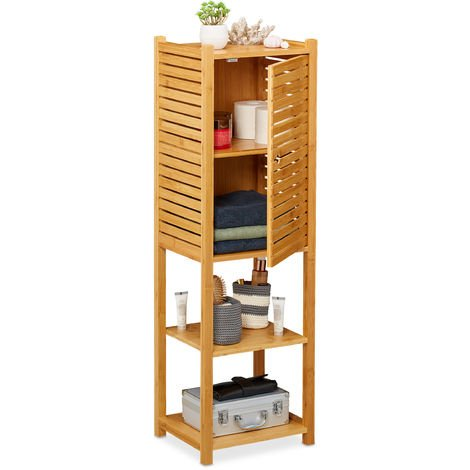 Relaxdays Bamboo Bathroom Cabinet, 5 Shelves, 1 Cupboard with Door, Kitchen Storage Unit, HWD: 113 x 35 x 29 cm, Natural