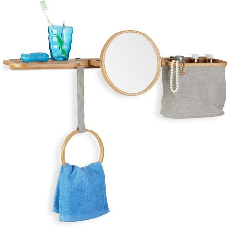Relaxdays Bamboo Bathroom Caddy, Set with Mirror, Soap Dish, Towel Holder and Compartments, Wall-Mount, Natural