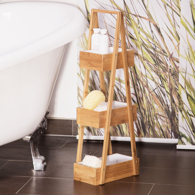Relaxdays Bamboo Bathroom Caddy Size