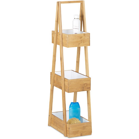 Relaxdays Bamboo Bathroom Caddy Size: 82 x 30 x 18 cm w/ 3 Practical Shelves Bathroom Butler w/ 3 Baskets Bamboo Storage & Organization Stand made with Natural Materials for Bathrooms, Natural Brown