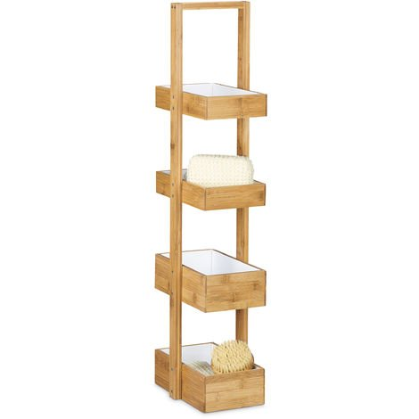 Relaxdays Bamboo Bathroom Caddy Size: 88.5 x 25.5 x 18.5 cm Practical Bathroom Shelves w/ 4 Compartments Basket Bamboo Butler Box Storage of Natural Wood for Bathrooms & Moist Areas, Natural Brown