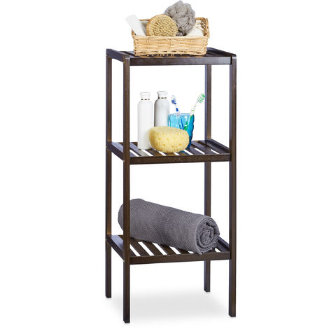 Relaxdays Bamboo Bathroom Rack with 3 Shelves, 80 x 34.5 x 33 cm, Colorful Shelving Unit for Children, Kitchen Rack, Brown