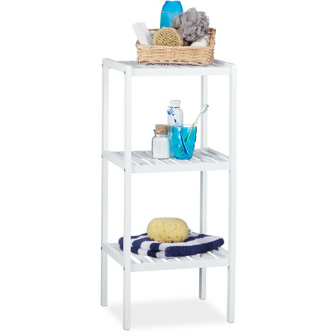 Relaxdays Bamboo Bathroom Rack with 3 Shelves, 80 x 34.5 x 33 cm, Colorful Shelving Unit for Children, Kitchen Rack, White