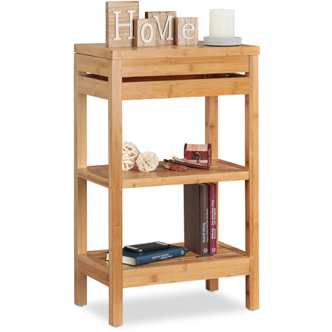 Relaxdays Bamboo Bathroom Shelf, 3-Tier Standing Rack, Lidded Compartment, Open, HWD 76.5 x 46 x 29.5 cm, Natural
