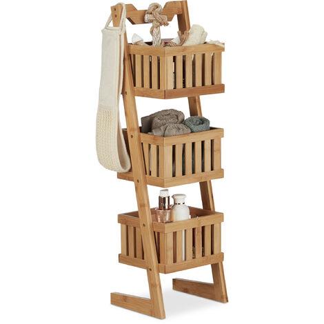 Relaxdays Bamboo Bathroom Shelf, 3 Tiers, Handle, Versatile, Organiser, Compact, Waterproof, Decorative, Natural
