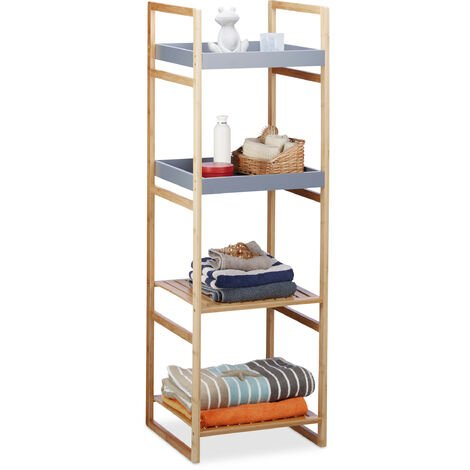 Relaxdays Bamboo Bathroom Shelf, 4-Tiers, Wooden Freestanding Kitchen Storage Rack, HWD 125.5x40x40 cm, Grey