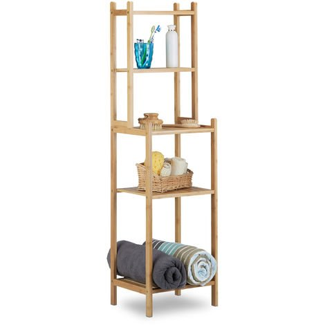 Relaxdays Bamboo Bathroom Shelf, 5 Tiers for Kitchen, Hallway, Bathroom, Open, Freestanding, HxWxD: 121x33x28 cm, Natural Brown