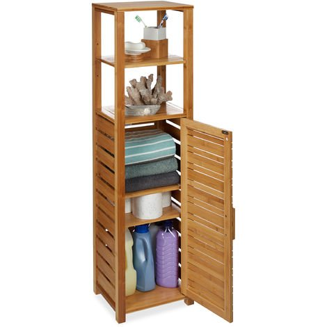 Relaxdays Bamboo Bathroom Shelf, 6 Tiers, Free Standing, Moisture-Resistant, Cabinet H x W x D: 119 x 33 x 25.5 cm, Natural
