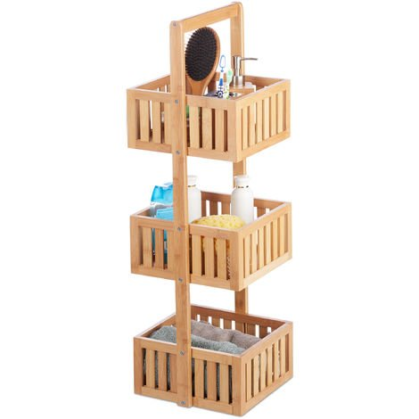 Relaxdays Bamboo Bathroom Shelf, Free Standing Wooden Caddy with 3 Tiers, Slim Kitchen Rack, HWD 82.5 x 27 x 26.5 cm, Natural