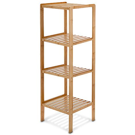 Relaxdays Bamboo Bathroom Shelf Size: 110 x 33 x 33 cm Chic Rack w/ 4 Shelves made of Natural Wood, Standing Shelf as Kitchen Rack or Wooden Stand for Bathroom Storage, Natural Brown