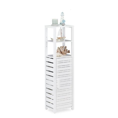 Relaxdays Bamboo Bathroom Shelf with Door, Free-Standing Shelf, 6 Storage Shelves, Tall, HWD 119 x 33 x 25.5 cm, White
