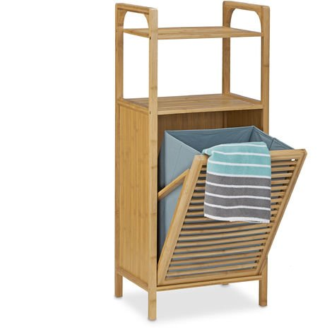 Relaxdays Bamboo Bathroom Shelf with Laundry Basket, Total Size: 95 x 40 x 30 cm Bath Storage Solution with 2 Shelves for Accessories and Fold-Out Laundry Sack Bin Hamper approx 25 L, Natural Brown