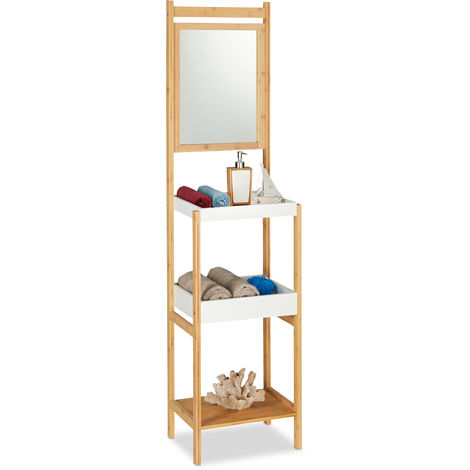 Relaxdays Bamboo Bathroom Shelf with Mirror, 3 Tiers, High & Open, Design, Hallway Stand, HxWxD: 162x40x30 cm, Natural