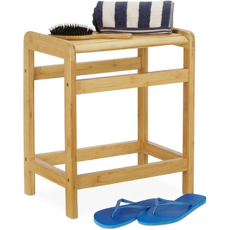 Relaxdays Bamboo Bathroom Stool, Natural Look, Wardrobe Seat, Plant Stand, HWD: 50.5 x 41.5 x 29.5 cm, Natural