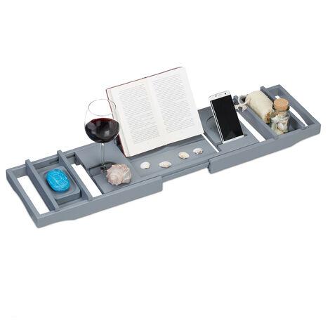 Relaxdays Bamboo Bathtub Caddy, 109 cm, Extendible, Wine Glass Holder, Book Stand, Soap Dish, Bath Tray, Grey