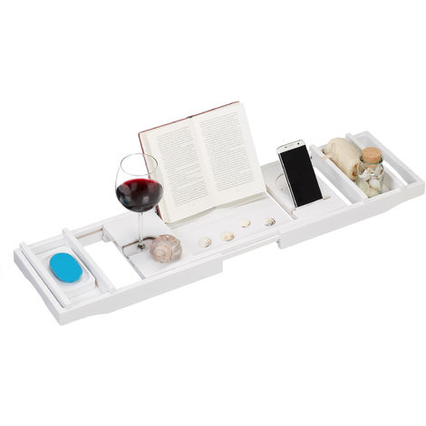 Relaxdays Bamboo Bathtub Caddy, 75-109 cm, Extendible, Wine Glass Holder, Book Stand, Soap Dish, Bath Tray, White