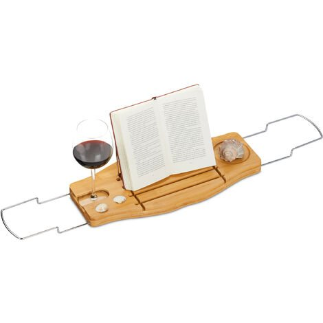 Relaxdays Bamboo Bathtub Caddy, Extendible, Folding Book Support Stand and Glass Holder, Bath Tray, 72-106 cm, Natural