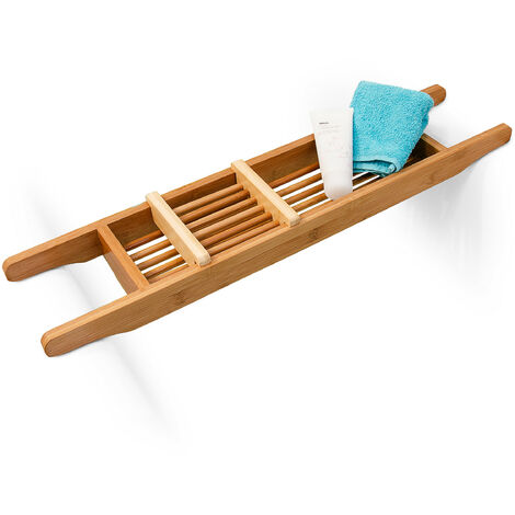 Relaxdays Bamboo Bathtub Caddy With Soap Rack, 6.5 x 69 x 14 cm, Adjustable Soap Dish, Natural Brown
