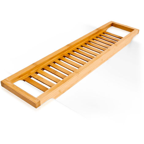 Relaxdays Bamboo Bathtub Caddy, Wooden Bathroom Rack, 4 x 64 x 15 cm, Over The Tub Storage Tray, with Rails, Natural Brown