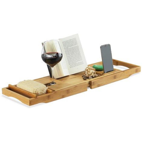 Relaxdays Bamboo Bathtub Caddy, Wooden Bathroom Rack with Bookstand, Extendable, HWD: 19 x 107.5 x 23 cm, Natural