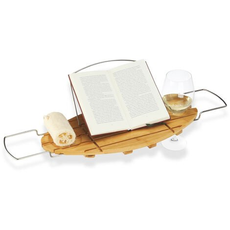 Relaxdays Bamboo Bathtub Caddy, Wooden Bathroom Rack with Bookstand, Extendable, HWD: 3.5x93x24cm, Natural