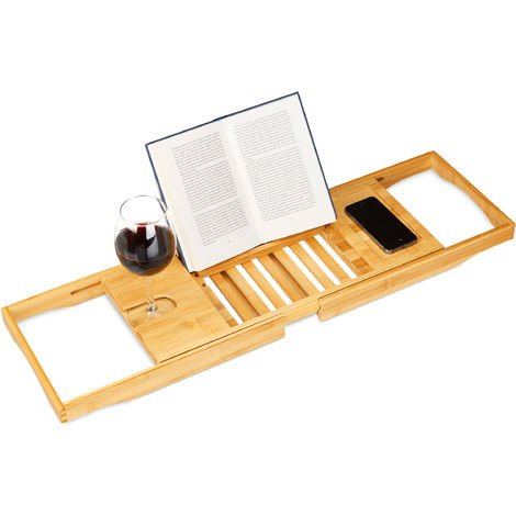 Relaxdays Bamboo Bathtub Tray with Book Support, HxWxD 17.5 x 70 x 22 cm, Wine Glass Holder, Bath Caddy, Shelf, Natural Brown