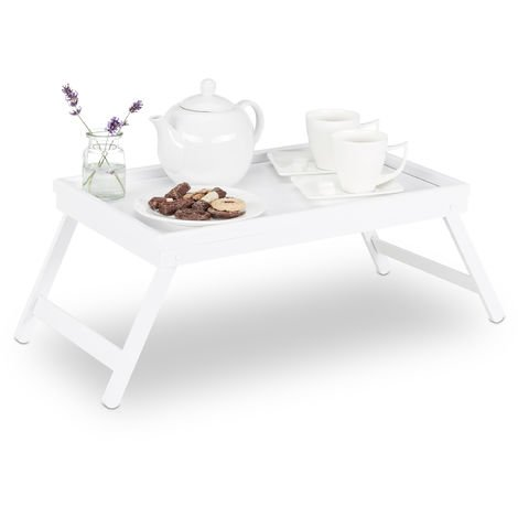 Relaxdays Bamboo Bed Tray, Folding Legs, Raised Edge, For Breakfast in Bed and Serving, HWD: 22x64x31cm, White
