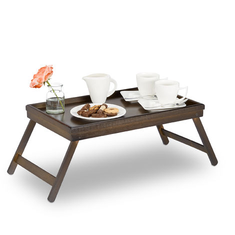 Relaxdays Bamboo Bed Tray, Folding Legs, Raised Edge, For Breakfast in Bed and Serving Table, HWD: 22x64x31cm, Dark Brown
