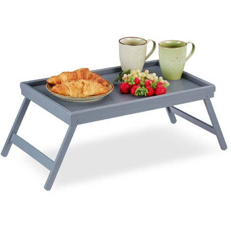 Relaxdays Bamboo Bed Tray, Folding Legs, Raised Edge, For Breakfast in Bed and Serving Table, HWD: 4 x 50 x 31 cm, Grey