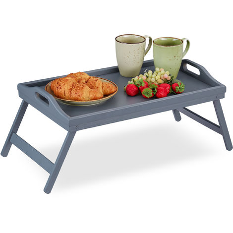 Relaxdays Bamboo Bed Tray, Folding Legs, Raised Edge, For Breakfast in Bed and Serving Table, HWD: 6.5 x 50 x 30 cm, Grey