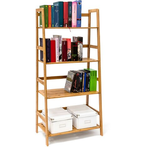 Relaxdays Bamboo Bookshelf Bookcase With 4 Shelves 120 x 57 x 31 cm Wooden Shelving Unit For Books In Ladder-Shape Standing Shelf With Protection On 4 Levels, For CDs DVDs Books, Natural