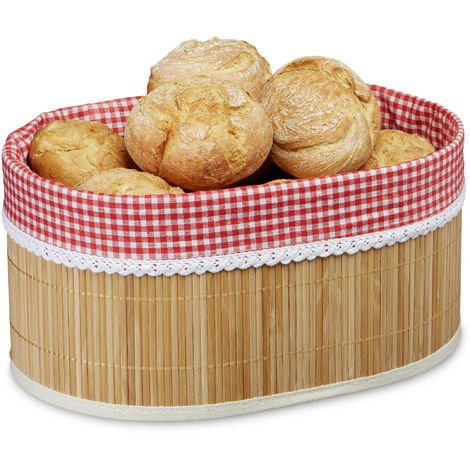 Relaxdays Bamboo Bread Basket, HxWxD: 16.5 x 33.5 x 23.5 cm, Bread Bowl, Roll Bin, with Insert, Natural Brown