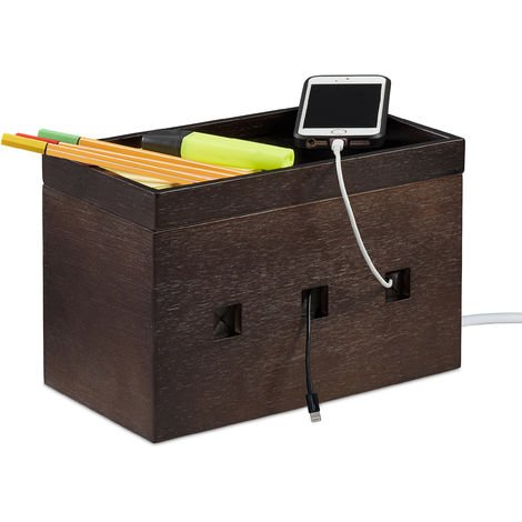 Relaxdays Bamboo Cable Box, Hide Lead Extensions & Cables, Desk Organiser, 16.5x25.5x14cm, Dark Brown
