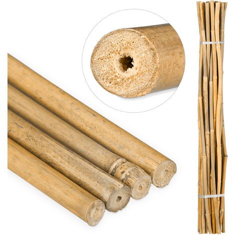 Relaxdays Bamboo Canes 120 cm, Natural Bamboo Rods For Plant Support Or Decoration, For Crafts, Different Colours